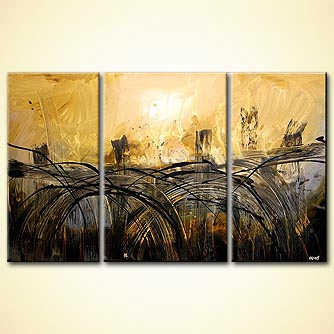 abstract bridges painting triptych art