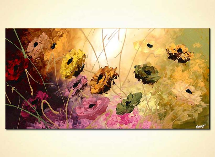 painting for sale abstract flowers large painting colourful garden