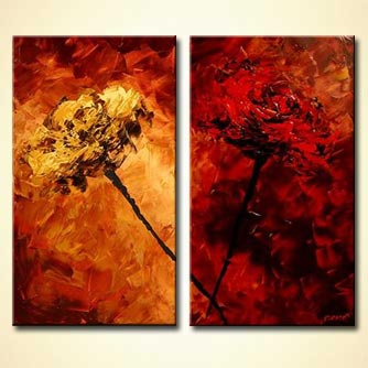 diptych floral red monochromatic art