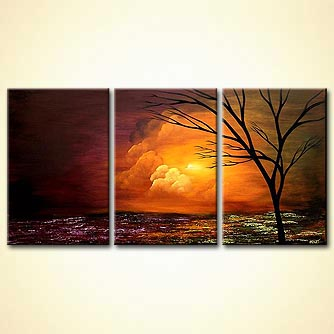 heaven clouds landscape triptych tree sunset