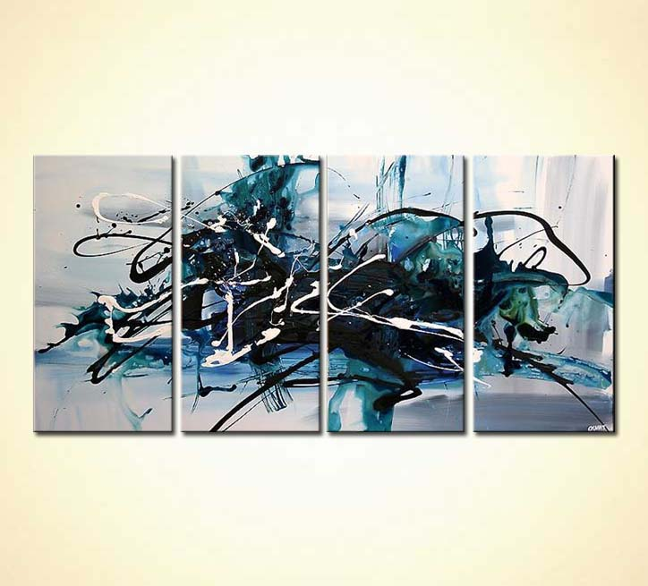 Painting Large Blue Abstract Painting Multi Panel 4359