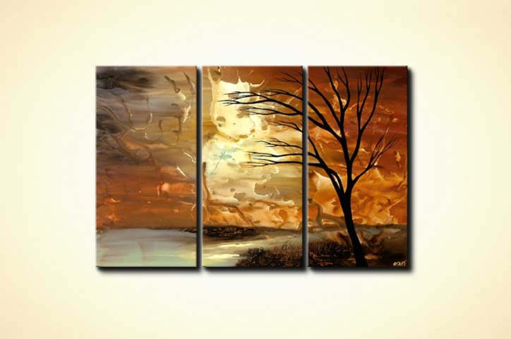 Painting abstract landscape painting triptych tree 4466 for Abstract nature painting