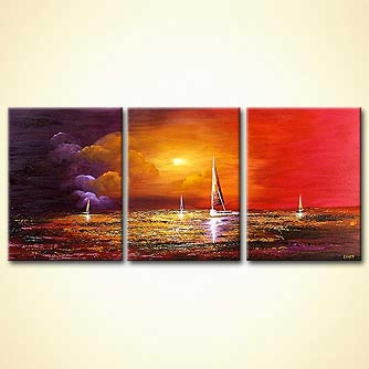 Seascape painting - Sailing on a River of Crystal Light