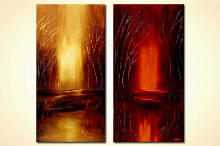 diptych abstract painting red yellow vertical