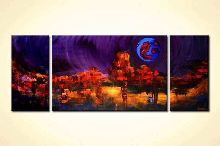 modern painting triptych dark large decor
