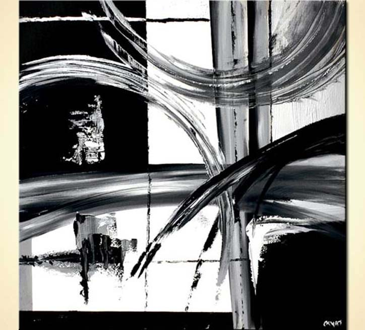 Painting black and white abstract painting decor 4604 for Black white canvas paintings