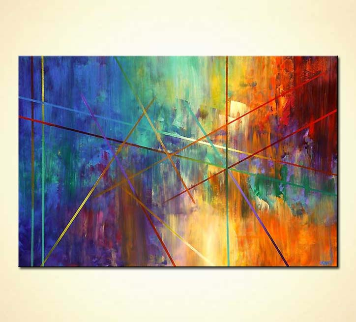 buy colorful geometrical painting home decor  4629