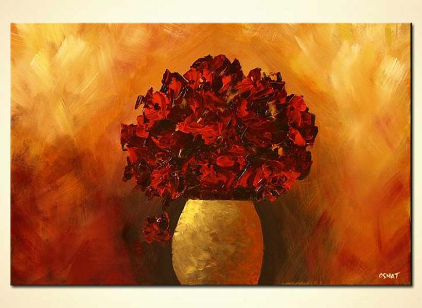 Painting Red Flowers In Vase Floral Red Decor 4644