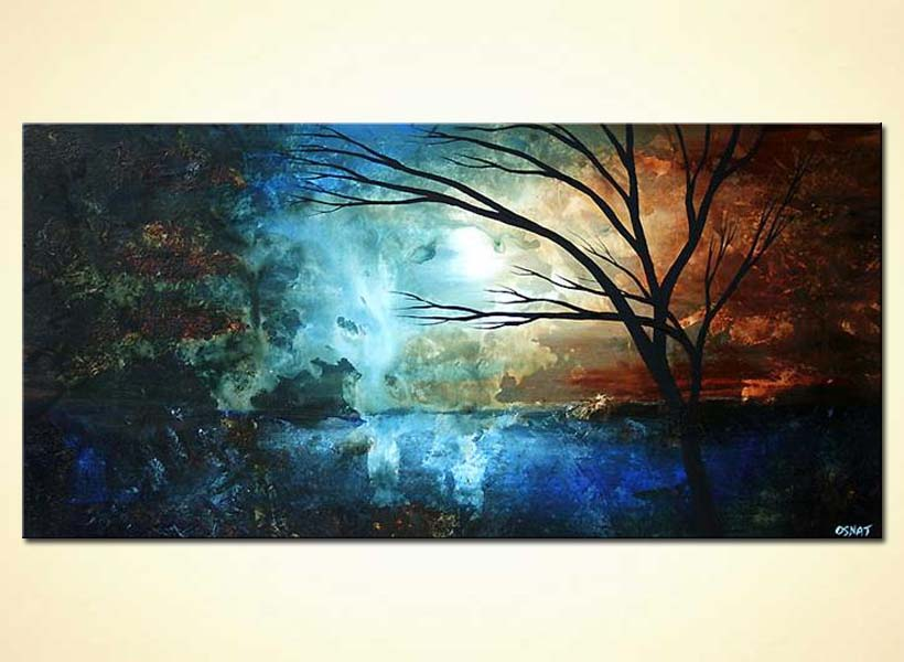 Painting blue abstract landscape painting tree 4675 for Blue paintings on canvas