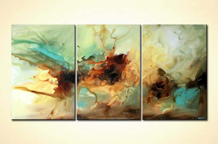 Painting - large triptych modern art soft decor #4749