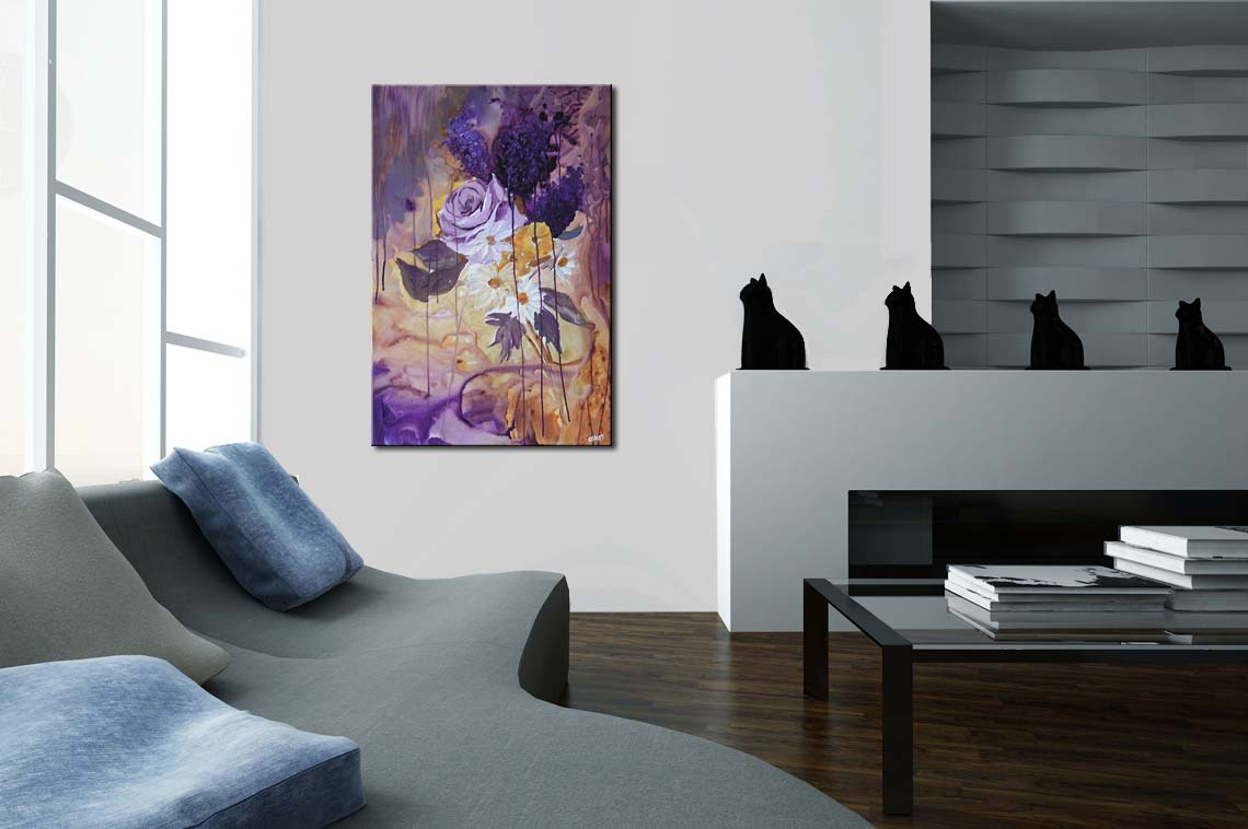 Painting - abstract landscape painting home decor flower #4873
