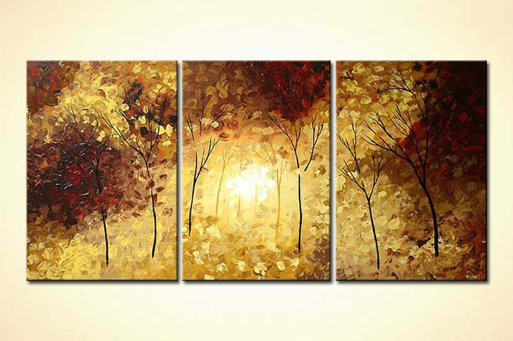 Painting For Sale Deep Forest In Yellow And Brown Decor