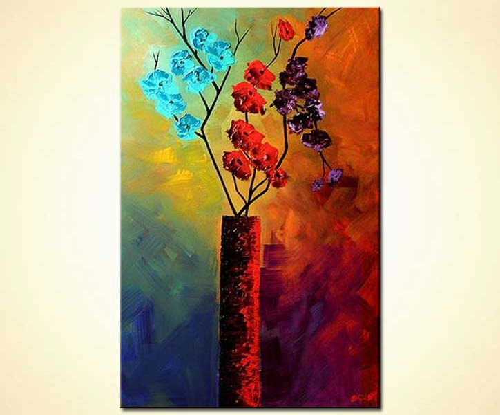 Painting Flowers In Vase Abstract Painting Colorful 4862