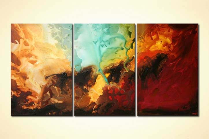 Painting Triptych Modern Abstract Painting Colorful 4897