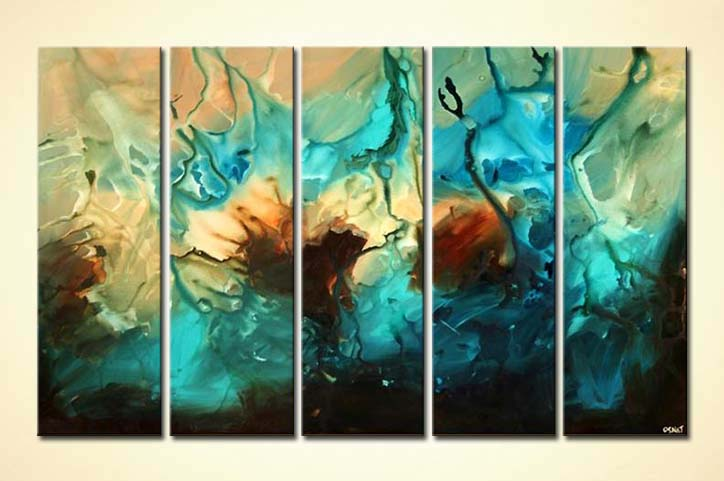 Painting For Sale Multi Panel Large Abstract Art In Blue