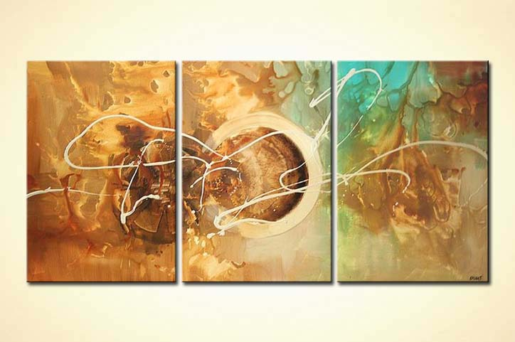Painting - triptych wall decor painting large circle #4922