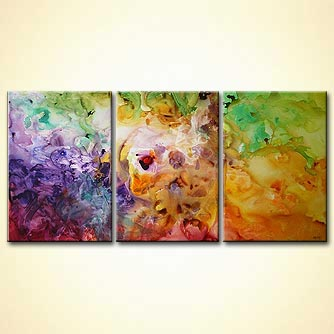 bold colorful modern triptych canvas