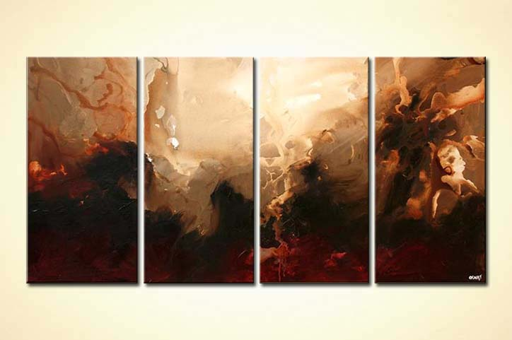 Painting For Sale Multi Panel Brown Abstract Art Moon