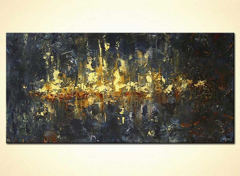 Cityscape painting - horizontal abstract in dark colors large #4989