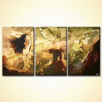 triptych canvas art brown and light green