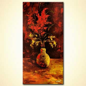 Floral painting - Red Flowers in a Golden Vase