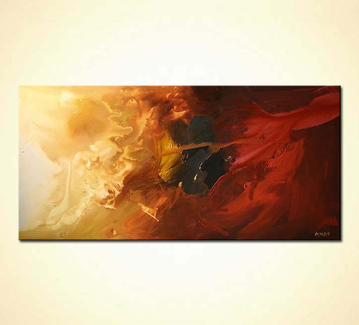 Painting horizontal red and gold abstract painting 5033 for Gold paintings on canvas