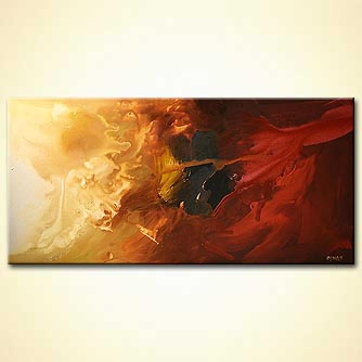 horizontal red and gold abstract painting