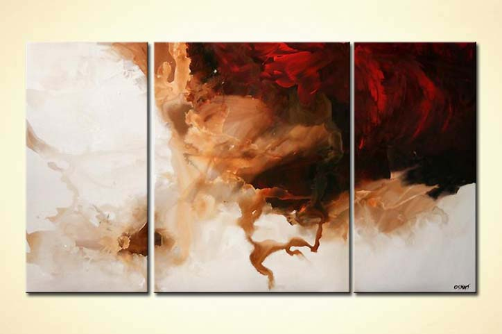 Painting For Sale White And Red Modern Triptych Minimal