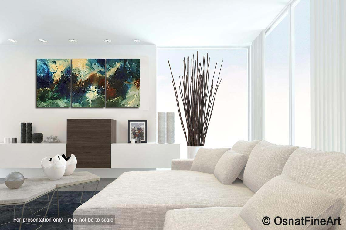 Painting modern living room painting sea blue tones 5066