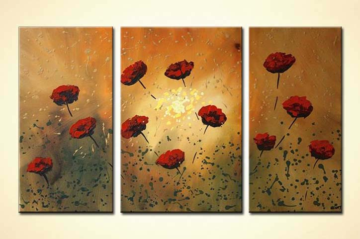 Painting For Sale Red Poppy Flowers On Rusty Background 5087