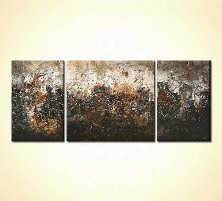 Abstract painting - triptych abstract painting in dark colors gray ...