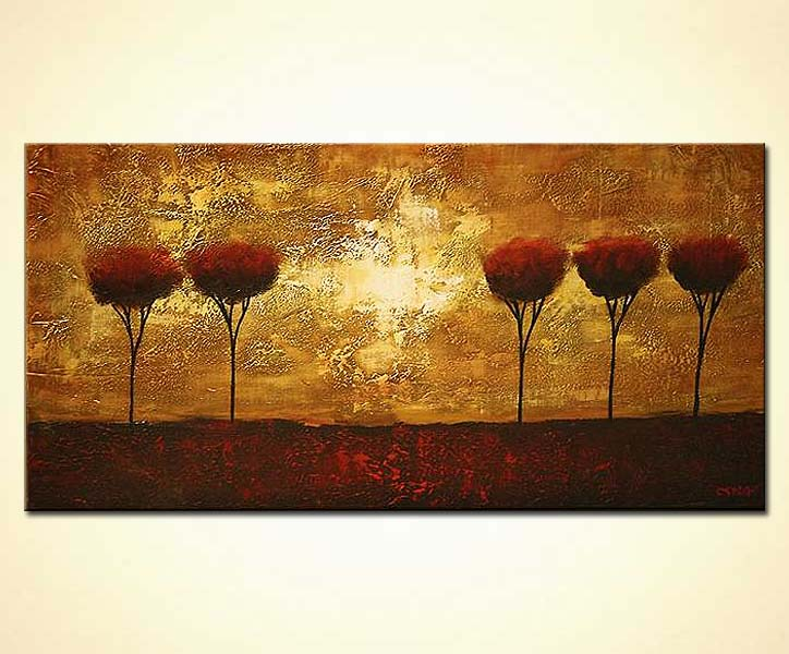 Buy Horizontal Abstract Painting Of 5 Trees In A Row 5110