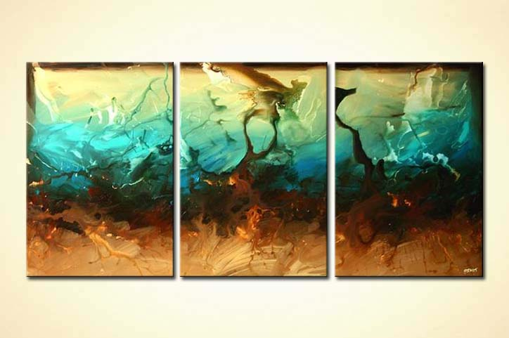 Abstract Painting Large Living Room Decor Triptych