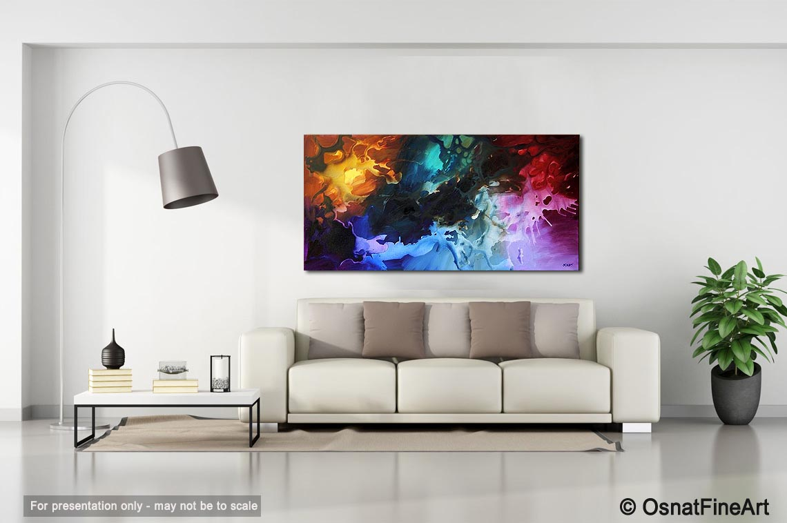 large living room painting galaxy colorful my world modern artwork thumbnail - Living Room Paintings