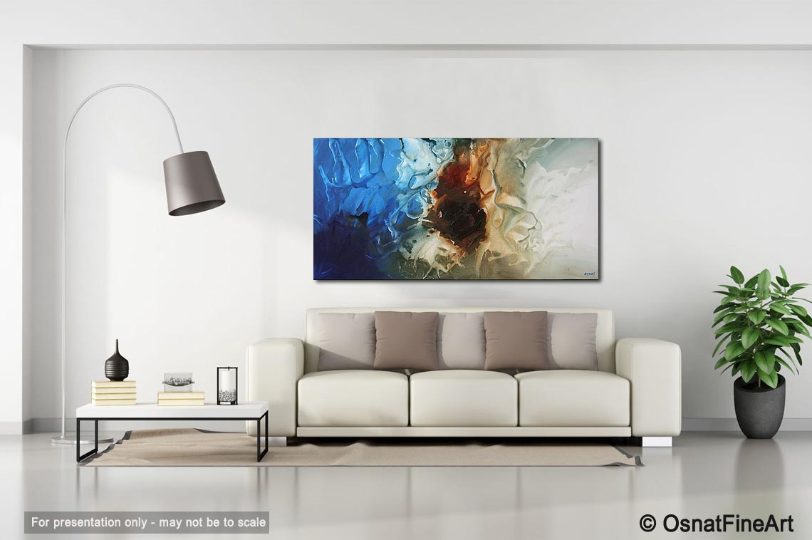 seascape painting - large living room painting iceberg soft home