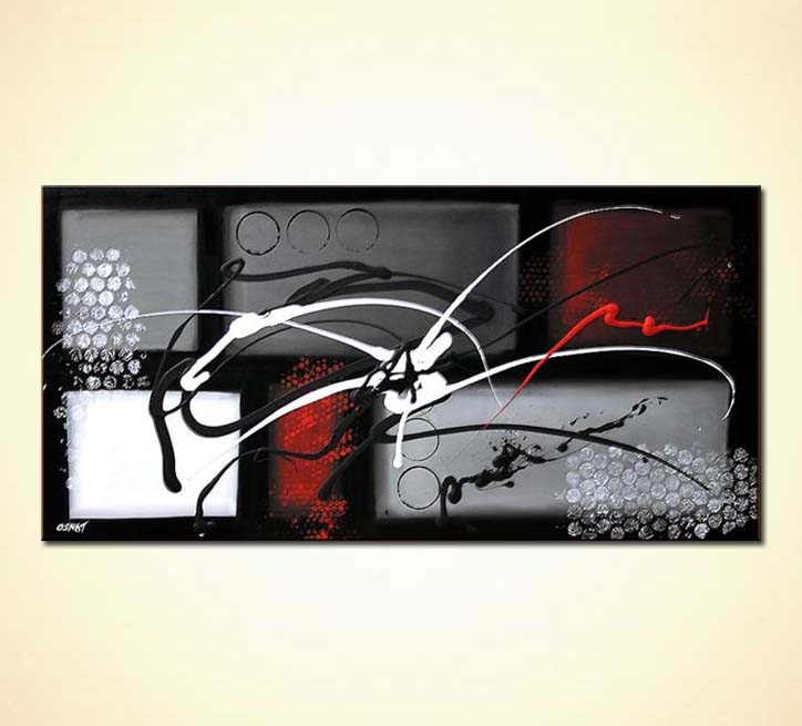 Painting For Sale Black White And Red Abstract Geometric 5141