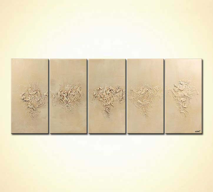 Painting - footsteps in the sand decor multi panel #5142