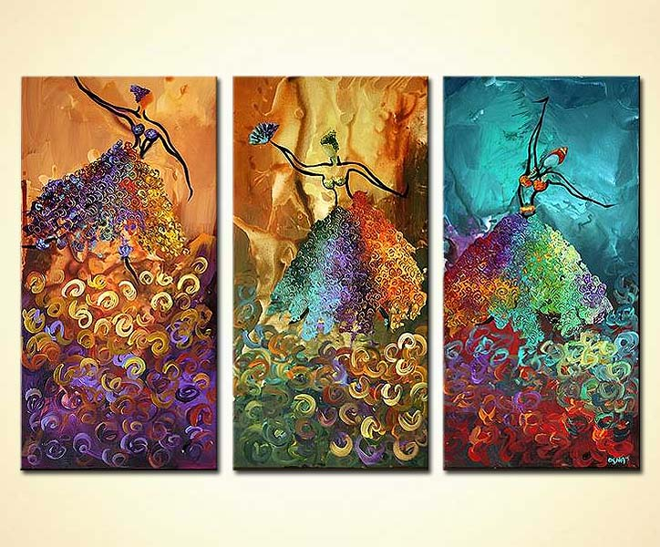 painting   abstract ballet dancers vertical triptych