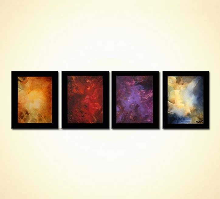 Four Elements Art : Painting four elements border planets galaxy multi panel