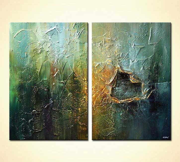 Painting heavy textured painting diptych home decor 5191 for Textured acrylic abstract paintings