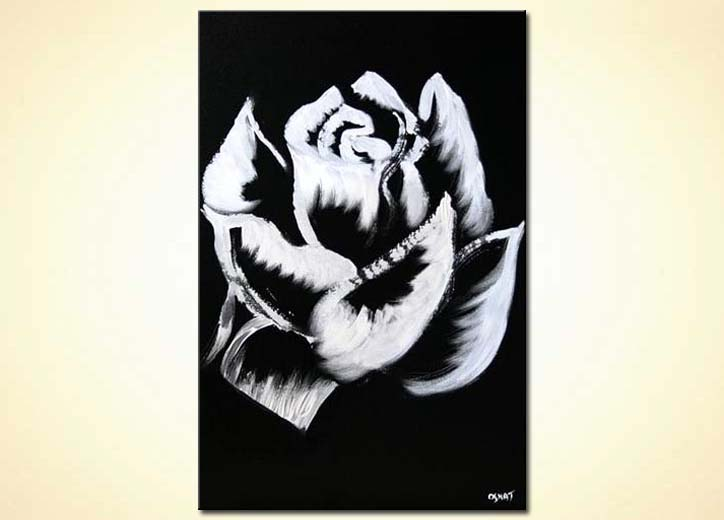 painting white rose on black background floral large 5166