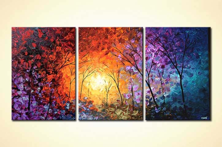 painting colorful forest modern palette knife trees 5227