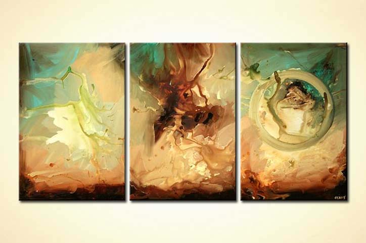 Painting - modern abstract living room decor home triptych