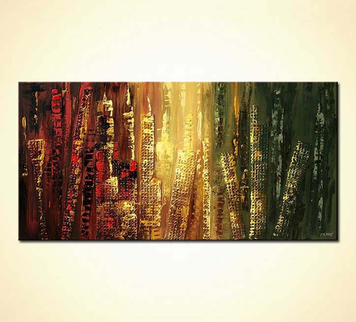 Painting For Sale Abstract Cityscape Red Yellow Green