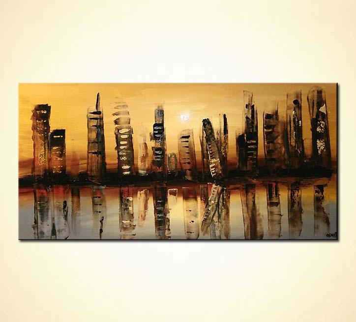 Painting - futuristic cityscape painting city large decor wall #5310