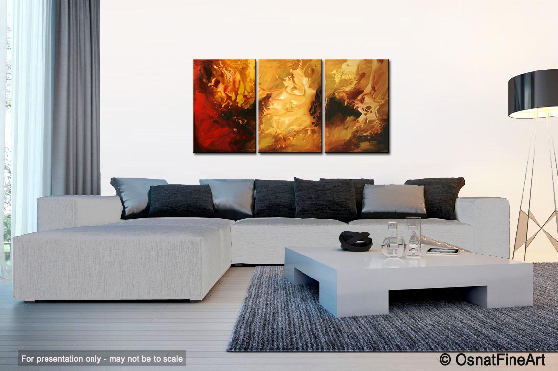 Painting living room wall decor painting red yellow 5316 for Decorative paintings for living room