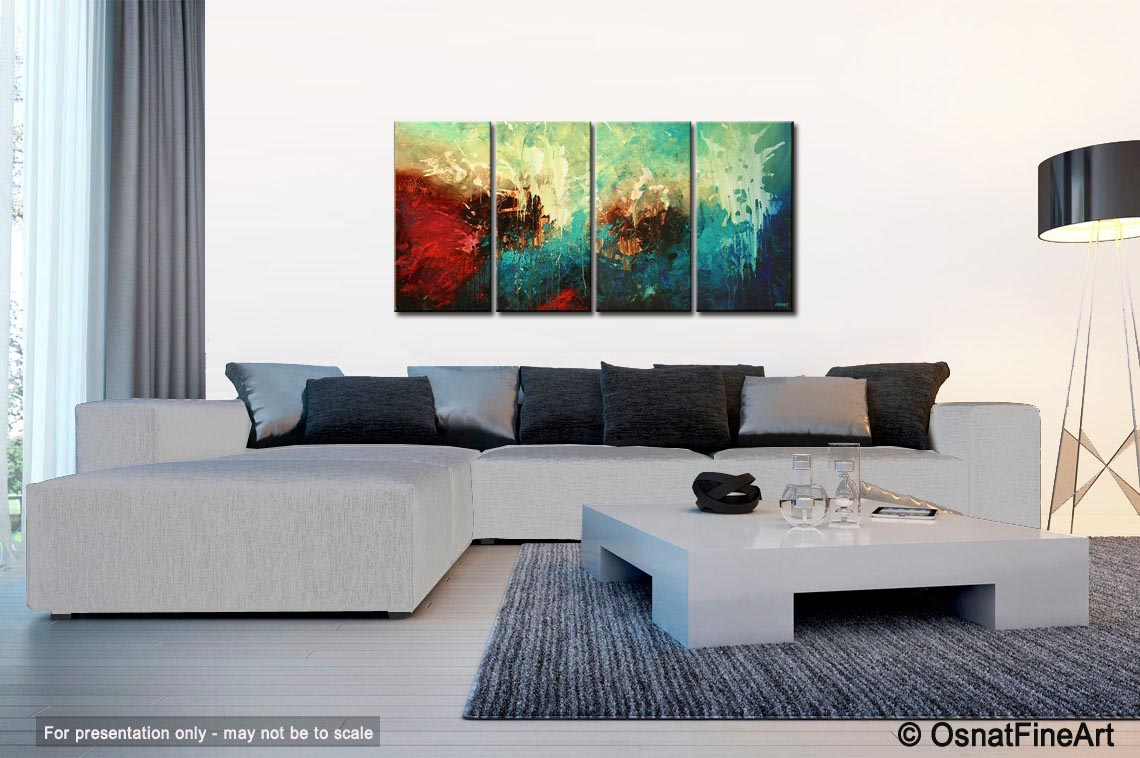 Painting - modern painting in turquoise red and brown #5306