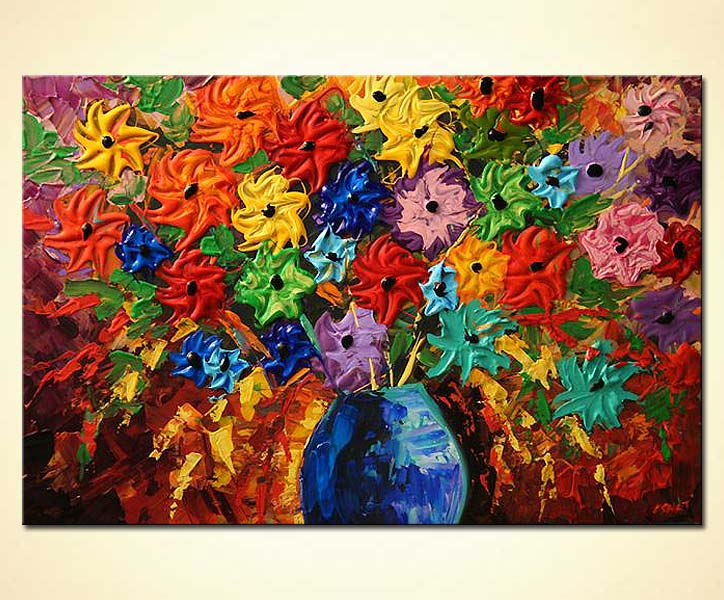 Lovely Flowers In Vase Acrylic Painting