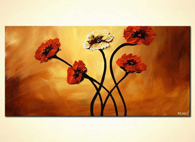 painting for sale large red flowers home decor floral 5349