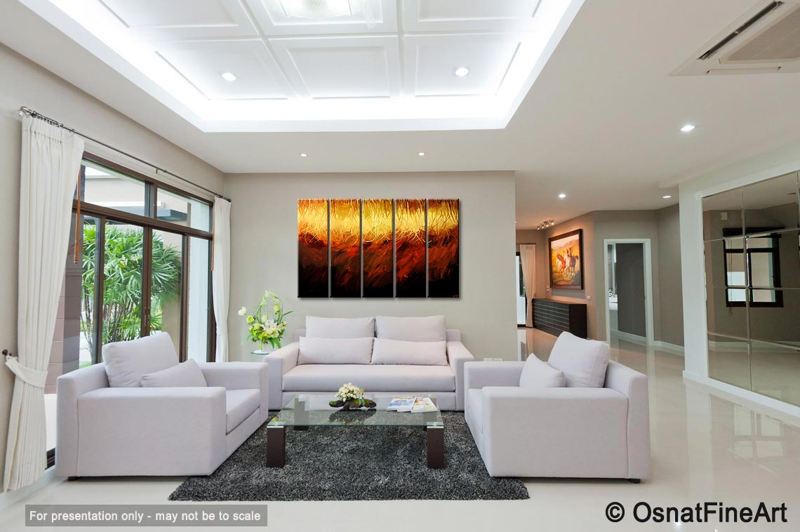 Painting - modern abstract living room painting multi panel #5357